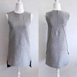 COS Wrap Back Wool Sleeveless Gray Shift Dress